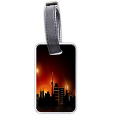 Gold Golden Skyline Skyscraper Luggage Tags (two Sides)