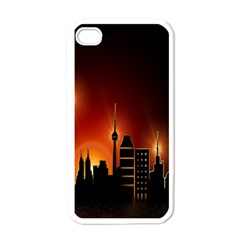 Gold Golden Skyline Skyscraper Apple Iphone 4 Case (white)
