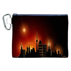 Gold Golden Skyline Skyscraper Canvas Cosmetic Bag (xxl)
