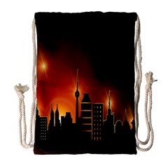 Gold Golden Skyline Skyscraper Drawstring Bag (large)