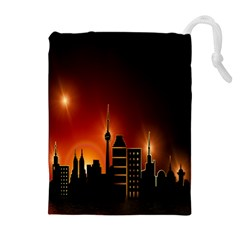 Gold Golden Skyline Skyscraper Drawstring Pouches (extra Large)