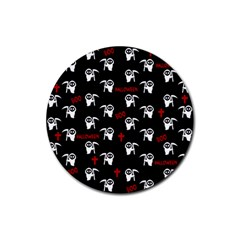 Death Pattern   Halloween Rubber Coaster (round)