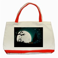 Halloween Landscape Classic Tote Bag (red)