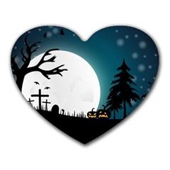 Halloween Landscape Heart Mousepads