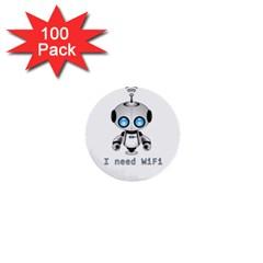 Cute Robot 1  Mini Buttons (100 Pack)