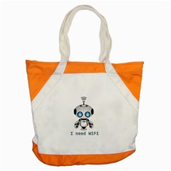 Cute Robot Accent Tote Bag