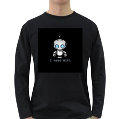 Cute Robot Long Sleeve Dark T Shirts