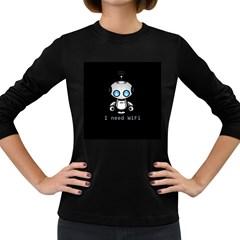 Cute Robot Women s Long Sleeve Dark T Shirts