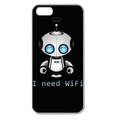 Cute Robot Apple Seamless Iphone 5 Case (clear)