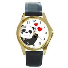 Cute Panda Round Gold Metal Watch