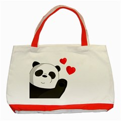 Cute Panda Classic Tote Bag (red)