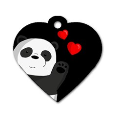 Cute Panda Dog Tag Heart (two Sides)