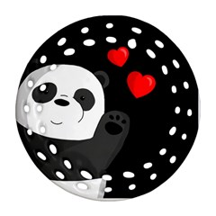 Cute Panda Round Filigree Ornament (two Sides)