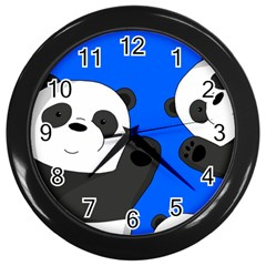 Cute Pandas Wall Clocks (black)