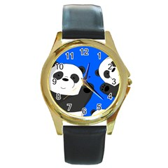 Cute Pandas Round Gold Metal Watch