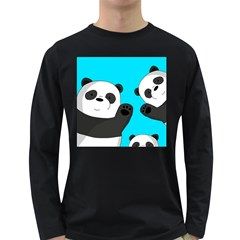 Cute Pandas Long Sleeve Dark T Shirts
