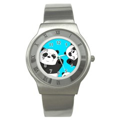 Cute Pandas Stainless Steel Watch