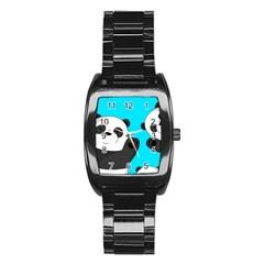 Cute Pandas Stainless Steel Barrel Watch