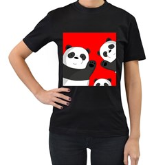 Cute Pandas Women s T Shirt (black)