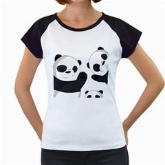Cute Pandas Women s Cap Sleeve T