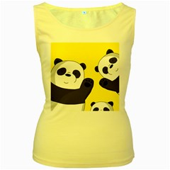 Cute Pandas Women s Yellow Tank Top