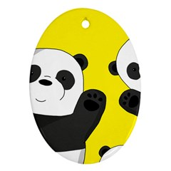 Cute Pandas Oval Ornament (two Sides)