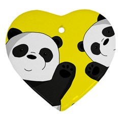Cute Pandas Heart Ornament (two Sides)