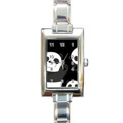 Cute Pandas Rectangle Italian Charm Watch
