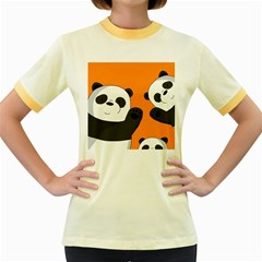 Cute Pandas Women s Fitted Ringer T Shirts