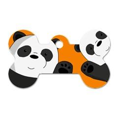 Cute Pandas Dog Tag Bone (two Sides)