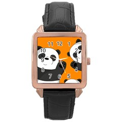 Cute Pandas Rose Gold Leather Watch