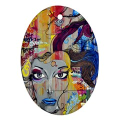 Graffiti Mural Street Art Painting Ornament (oval)