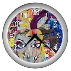 Graffiti Mural Street Art Painting Wall Clocks (silver)