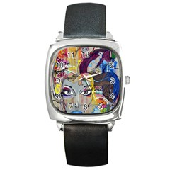 Graffiti Mural Street Art Painting Square Metal Watch