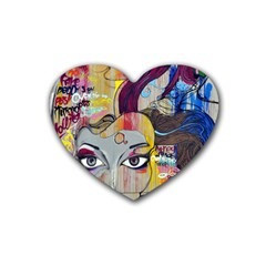 Graffiti Mural Street Art Painting Rubber Coaster (heart)