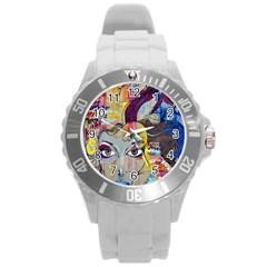 Graffiti Mural Street Art Painting Round Plastic Sport Watch (l)