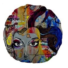 Graffiti Mural Street Art Painting Large 18  Premium Flano Round Cushions