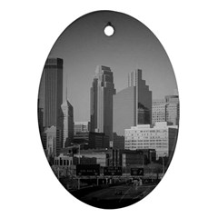 Minneapolis Minnesota Skyline Oval Ornament (two Sides)