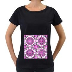 Oriental Pattern Women s Loose Fit T Shirt (black)