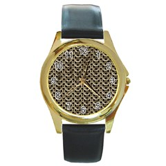 Sparkling Metal Chains 01a Round Gold Metal Watch