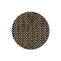 Sparkling Metal Chains 01a Rubber Round Coaster (4 Pack)