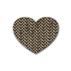 Sparkling Metal Chains 01a Rubber Coaster (heart)