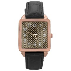 Sparkling Metal Chains 01a Rose Gold Leather Watch