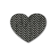 Sparkling Metal Chains 01b Rubber Coaster (heart)
