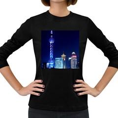 Shanghai Oriental Pearl Tv Tower Women s Long Sleeve Dark T Shirts