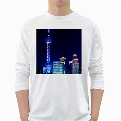 Shanghai Oriental Pearl Tv Tower White Long Sleeve T Shirts