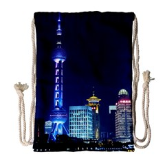 Shanghai Oriental Pearl Tv Tower Drawstring Bag (large)