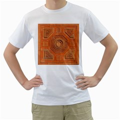 Symbolism Paneling Oriental Ornament Pattern Men s T Shirt (white) (two Sided)
