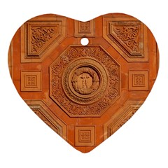 Symbolism Paneling Oriental Ornament Pattern Heart Ornament (two Sides)