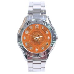 Symbolism Paneling Oriental Ornament Pattern Stainless Steel Analogue Watch